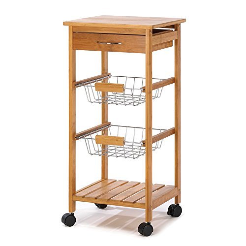 Rolling Kitchen Island Cart, Portable Utility Osaka Kitchen Cart with Basket