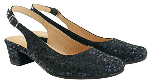 BOSCCOLO 4501-03-04 Summer Pumps, Sandals, Low Heel, Leather Navy Blue