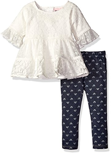 [Little Lass Baby Girls' 2 Piece Legging Set Printed Knit Denim, Ivory, 24 Months] (Knit Two Piece Set)