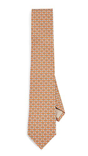 Salvatore Ferragamo Men's Dog Print Classic Tie, Orange, One Size