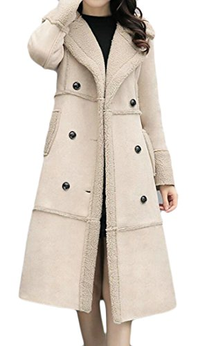 Fleece Lined Double-Breasted Suede Long Coats Apricot US 2XL ()