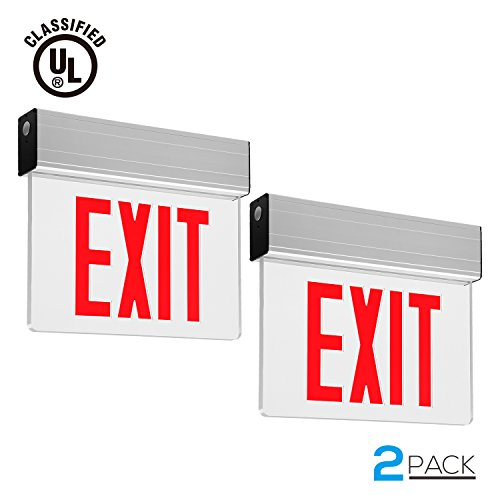 Arrow Double Sign (Red LED Emergency Light Exit Sign with Battery Backup, UL Listed, AC120V/277V, Single/Double Face, Ceiling/Side/Back Mount Sign Light, for Hotels, Restaurants, Hospitals, Pack of 2)