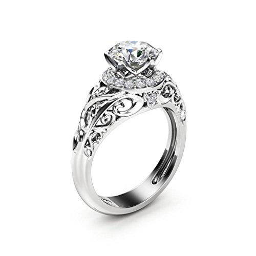 Hollowed Out Pattern Diamond Design Wedding Ring Diamond Ring (Silver, 9#) ()