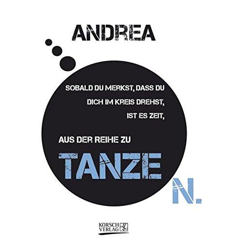 Namenskalender Andrea: Ideales Geschenk mit 12 trendigen Typo-Art-Sprüche mit immerwährendem Kalendarium. Wand-Aufstell-Postkarten-Kalender in einem.