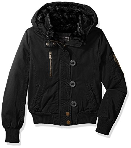 Urban Republic Big Girls' Ur Cotton Twill Jacket, Black 5807AB, 7/8 (Twill Jacket Kids Black)
