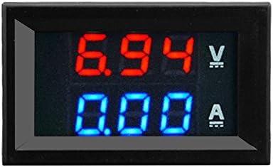 Emilyisky Voltímetro Digital de 100V 10A DC Amperímetro Azul + Rojo Pantalla de Doble Color LED Amplificador Medidor de voltio Digital Doble Medidor 2 in1 Multímetro Rojo