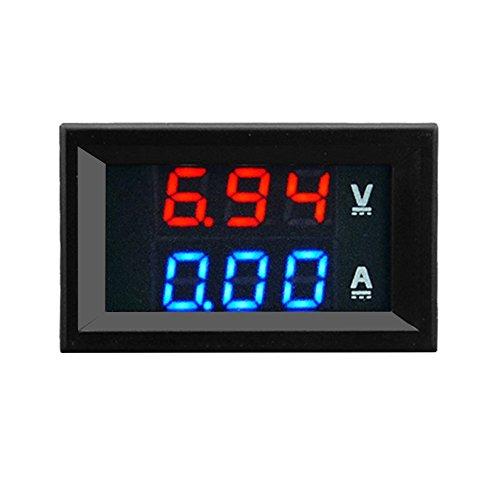 Baynne 100V 10A DC Digital Voltmeter Ammeter Blue + Red LED Amp Volt Meter Gauge(Color:Blue)