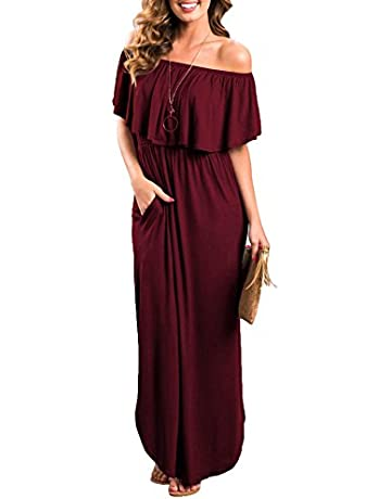 e763e97966d4b Sarin Mathews Womens Off The Shoulder Ruffle Party Dress Casual Side Split  Beach Long Maxi Dresses