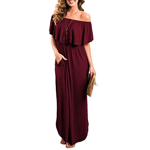 Womens Off The Shoulder Ruffle Party Dresses Side Split Beach...