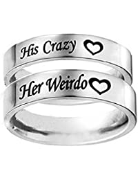 His Crazy/Her Weirdo Heart Engraved Ring Stainless Steel Engagement Wedding Band for Women Men Couple Anniversary Gifts