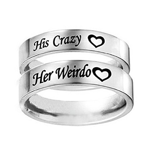 His Crazy Heart Engraved Ring Stainless Steel Engagement Wedding Band for Women Anniversary Gift (Her Size 7) (Hers Ring Set)