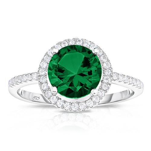 - Unique Royal Jewelry Sterling Silver Created Green Emerald with White CZ Helo Jacket Princess Diana Kate Middleton Engagement Ring - Size 7