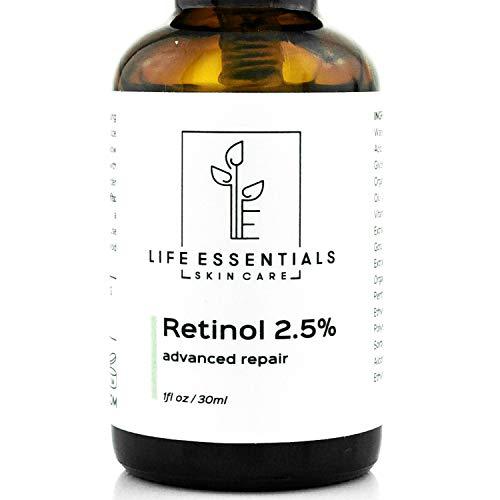 Retinol Serum 2.5% for Wrinkles, Fine Lines, Acne Scars, Skin Blemishes & Minimizes Pores - Vitamin A + Hyaluronic Acid, Vitamin E, Organic Green Tea, Jojoba Oil - Organic, Natural & Cruelty Free ...