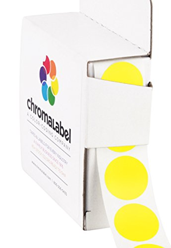 ChromaLabel 3/4 inch Color-Code Dot Labels | 1,000/Dispenser Box (Yellow)