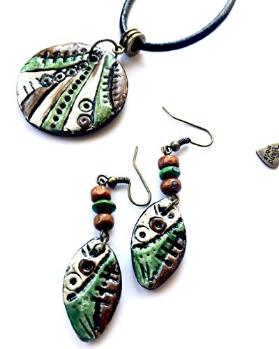 Boho Pendant Necklace and Earrings Set  Handpainted Abstract Necklace For Women  Polymer Clay Hippie Necklace With Boho Colorful Earrings