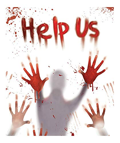 Bloody Victim Body Hand Prints-Help US-Door Cover Wall Mural Horror Decoration -
