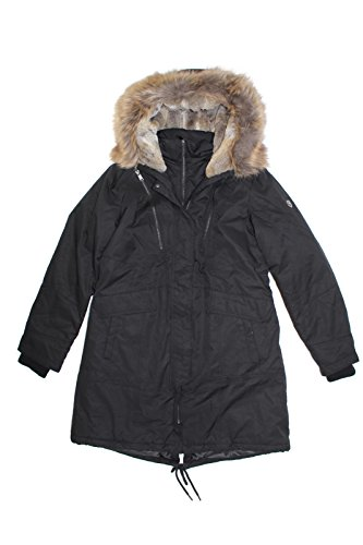 1 Madison Expedition Women's Faux Fur Hooded Parka Jacket (Black, Medium)