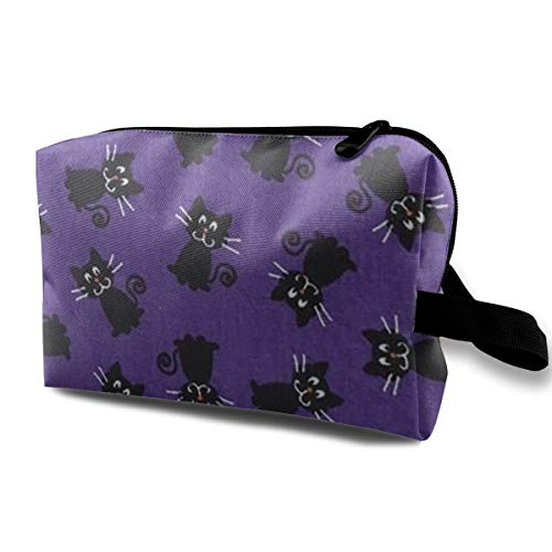 KZEMATLI Cosmetic Bags Halloween Fabric Cat Travel Makeup Multifunction Storage Portable Clutch Pouch Toiletries Organizer Bag