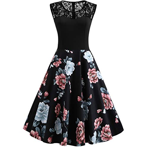TUSANG Women Skirt O-Neck Sleeveless Floral Print Lace for sale  Delivered anywhere in USA