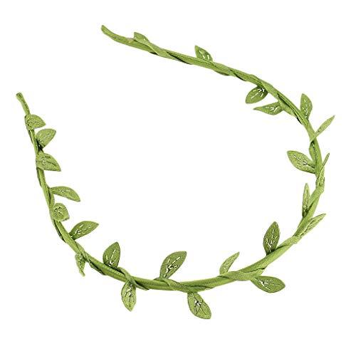 Green Satin Laurel Leaf Leaves Headband Hair Band Wreath Greek Roman Costume