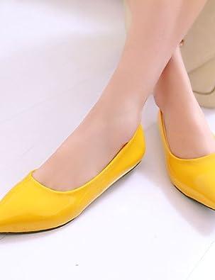 DFGBDFG PDX/Damen Schuhe Ferse Spitz Wohnungen Outdoor/Office & Karriere/Casual Schwarz/Blau/Gelb/Grün/Rot/Beige, yellow-us8/eu39/uk6/cn39 - Größe: One Size