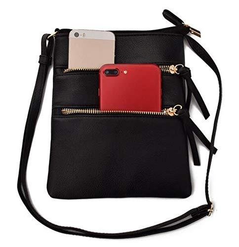 FairyBridal Triple Zipper Mutil-Pocket Leather Messenger Bag for Women,Crossbody Bag 5 Colors Satchel Purse (black(pu leather)) by FairyBridal (Image #4)