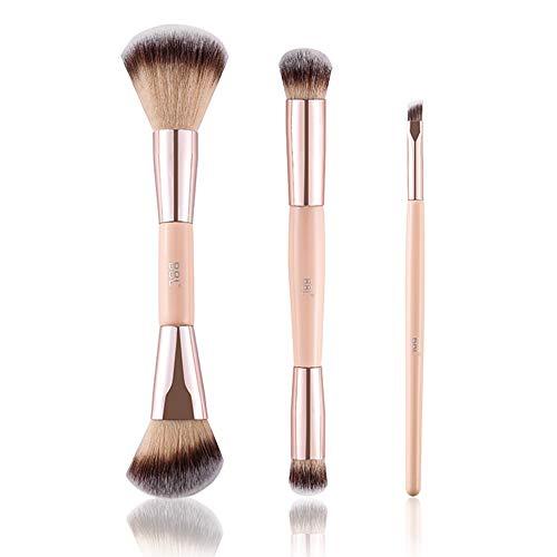 BBL 3PCs Professional Makeup Brush Set, Angled Dual Ended Contour Powder Liquid BB Cream Eye Face Blush Blending Highlighter Concealer Eye Shadows Eyebrow Makeup Brush kits