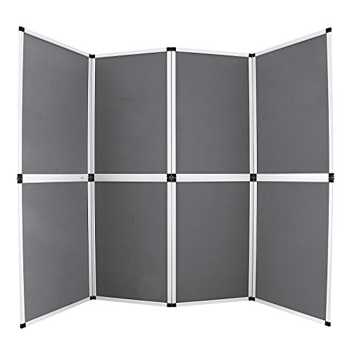 Happybuy Trade Show Display 8 Panel Panel Screen Each Panel is 24x36 Inches Folding Screen with Gray Velcro-Receptive Fabric (8 panels)