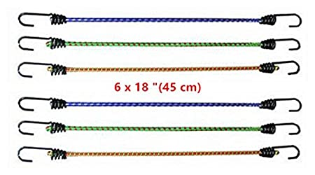 e-shop2door 6 x Bungee Cord Elastic Luggage Straps Rope Hooks Stretch Tie Car Bike Spiral Wire Hooks GARDEN CAMPING (2x30cm+2x45cm+2x60cm)