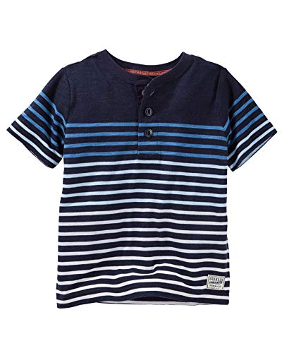 Carter's Baby Boys' Short Sleeve Jersey Polo (Blue Multi Stripes, 6 Months)