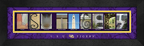 (Prints Charming Letter Art Framed Print, Louisiana State University Baton Rouge-LSU Tigers, Bold Color Border)
