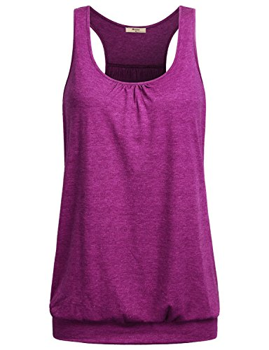(Miusey Yoga Tops Womens Sleeveless Round Neck Loose Fit Racerback Workout Tank Summer Ribbed Cotton Activewear M Space Dye Red )