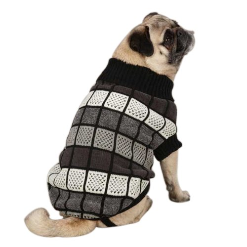 East Side Collection ZM023 08 17 Chenille Block Sweater for Dogs, XX-Small, Black
