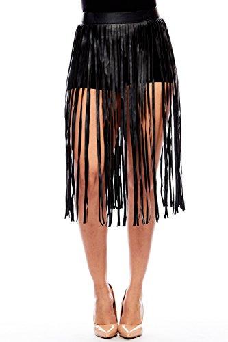 Womens Unique Faux Pleather Long Skirt Fringe Edgy Belt IW9951 (Black)