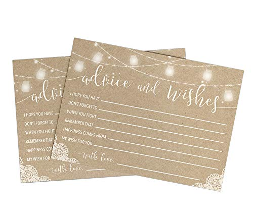 rustic advice and well wishes set of 50 cards wedding and bridal shower advice