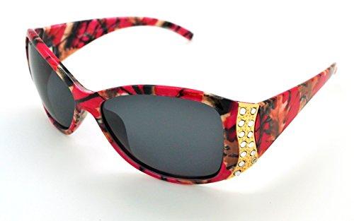 Vertx polarisées tendance classique haute qualité pour femme Mode Hot Lunettes de soleil W/étui microfibre gratuit Hot Pink Camo Gold Frame - Smoke Lens