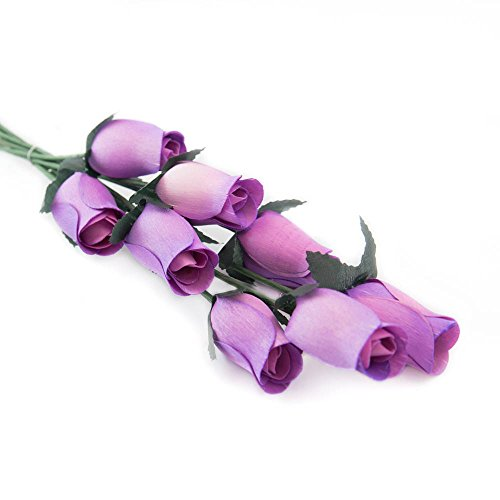 Lavender Bunch of 8 Closed Bud Wooden Roses For Crafts Custom Bouquets and other DIY Projects. Choose form Over 50 Colors (Bouquet Lavender Rose)