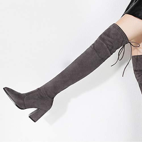 Punta La Botin Cordones De Botas Zapatos Grey Rodilla Sobre Tacon Altas Mujer Alto tSRw0qZ
