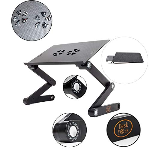 Desk York Adjustable Laptop Stand - Use in Bed Recliner/Sofa -Best Gift for Friend-Men-Women-Student- Couch Lap Tray- Aluminum Table for Computer- 2 Built in Fans-Mouse Pad&USB Cord -Up to 17