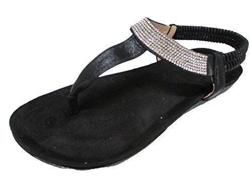 OOG Damen Zehentrenner Sandale Strass Glitzer Metallic Offener Sommer Schuhe Schwarz