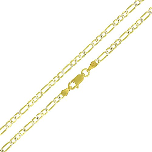 Elite Anti-Tarnish - 3mm Figaro Link - Patented ITProLux - 925 Sterling Silver - Diamond-Cut Pave - 14K Yellow Gold - Solid Necklace Chain - Made In Italy - 16
