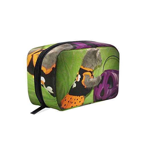 Cosmetic Bag Halloween Kitty Animals Cats Girls Makeup Organizer Box Lazy Toiletry Case