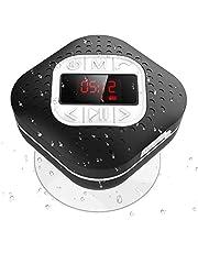 AGPTEK Bluetooth 4.1 doucheradio met digitaal LED-scherm, zuignap, IPX4 waterdichte draadloze FM radioluidspreker met nummerherhaling en handsfree-functie, voor douche en keuken, zwart