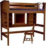 Cooley Twin Loft Bed with Bookshelves and Desk Finish: White