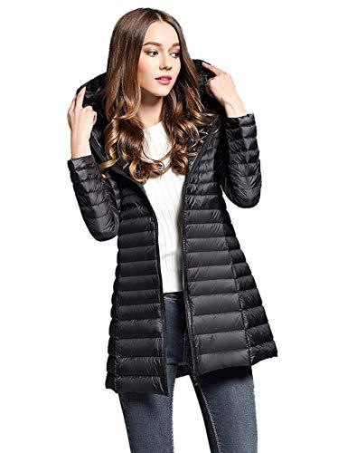 Sunseen Womens Thin Packable Travel Hooded Puffer Outwear Lightweight Basic Down Coat Outdoor Sports Casual Slim Long Jacket