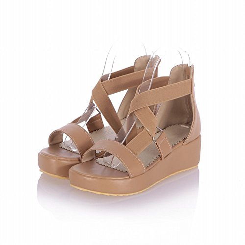 apricot Fashion Shoes Cute Bandage Heel Casual Carol Zipper Womens Wedges Mid Platform Sandals 57qwxd6A