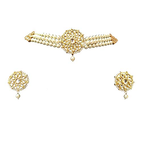 Pearl Designer Set - Retailbees Finekraft Meena Kundan Indian Bridal Wedding Designer Gold Plated Pearls Choker Necklace Jewelry Set