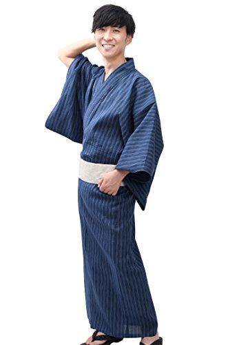 (Edoten Men's Kimono Japan Shijira Weaving Yukata 751 BL)