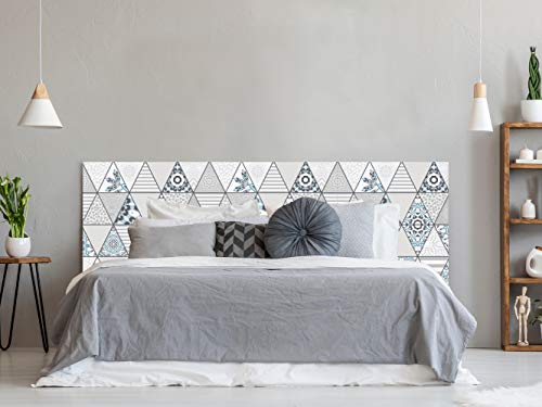 Cabecero Cama PVC Impresion Digital sin Relieve Estampado en Triangulos 100 x 60 cm   Disponible en Varias Medidas   Cabecero Ligero, Elegante, Resistente y Economico