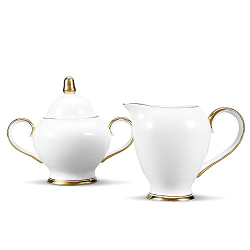 NDHT Bone China Ceramic Sugar and Creamer Serving Set with Milk Jug and Sugar Pot For Coffee and Tea,Golden - Milk China Bone